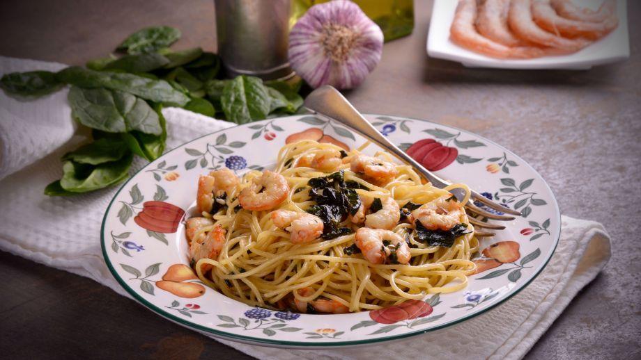 Espaguetis Con Espinacas Y Gambas Hermana Maria Jose Receta Canal Cocina