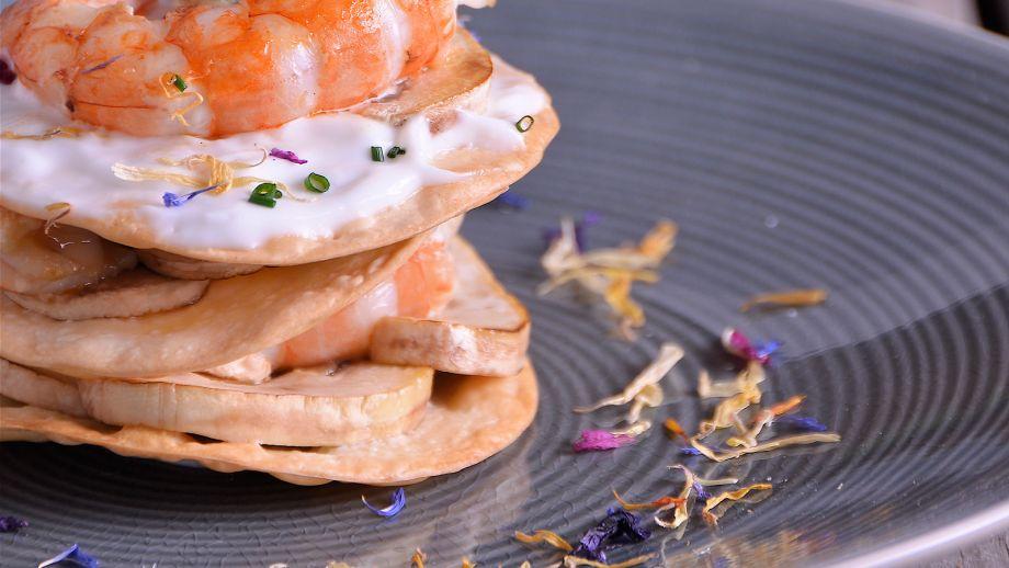 Obleas con gambones y setas diana cabrera receta for Diana cabrera canal cocina