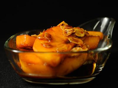 Caquis con almendras y amaretto diana cabrera receta for Diana cabrera canal cocina