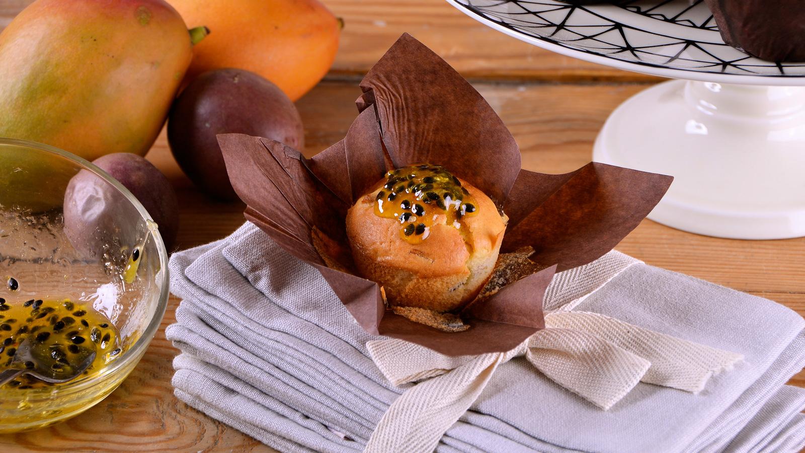 Muffins de pl tano mango y fruta de la pasi n alma - Cocina con alma ...