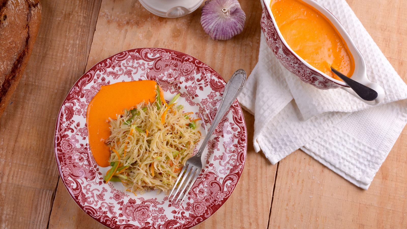 fideu vegetal con salsa de piquillo elena aymerich