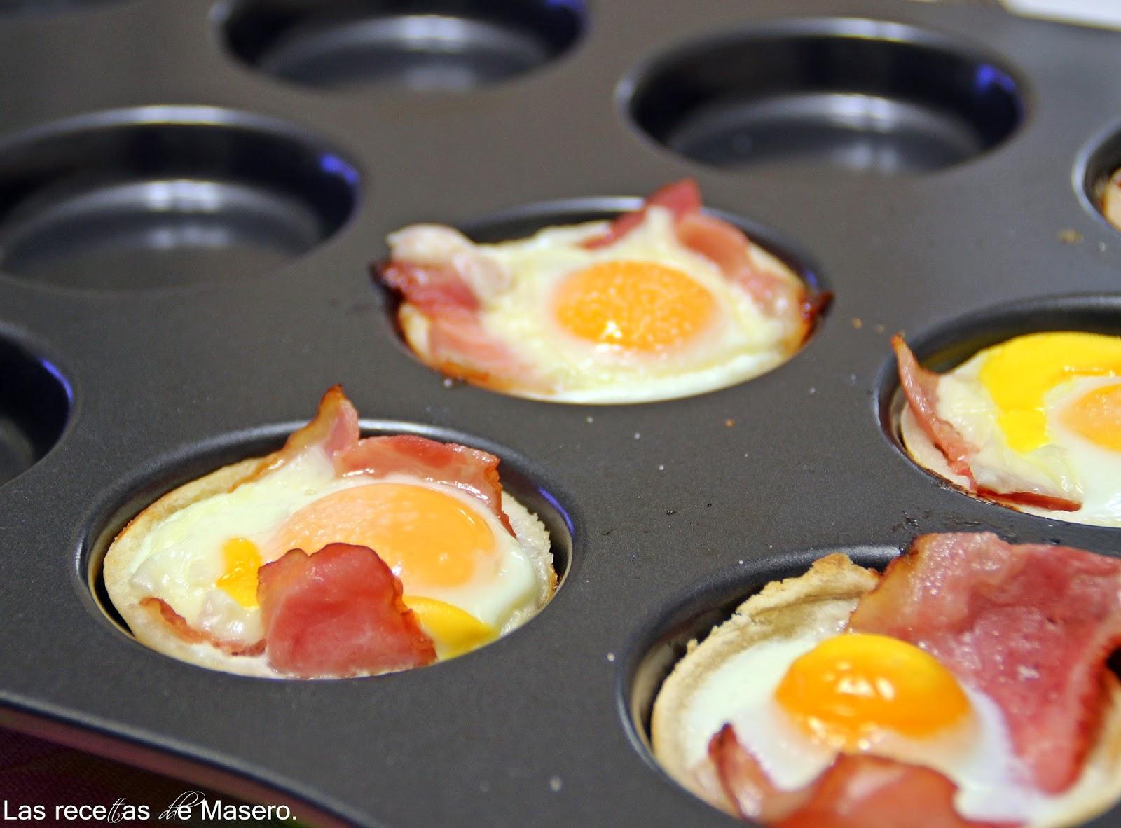Tartaletas de pan de molde con huevo y beicon lasrecetasdemasero