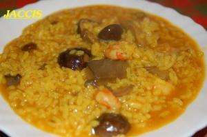 Arroz Caldoso Con Setas Y Pollo arroz caldoso con revuelto de setas y langostinos - jaccis - receta